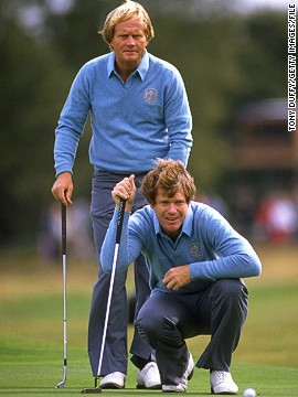 Watson's second appearance in 1981 also came on English shores, this time at Walton Heath in Surrey. He teamed up with 18-time major winner Jack Nicklaus and they comfortably won all three matches.