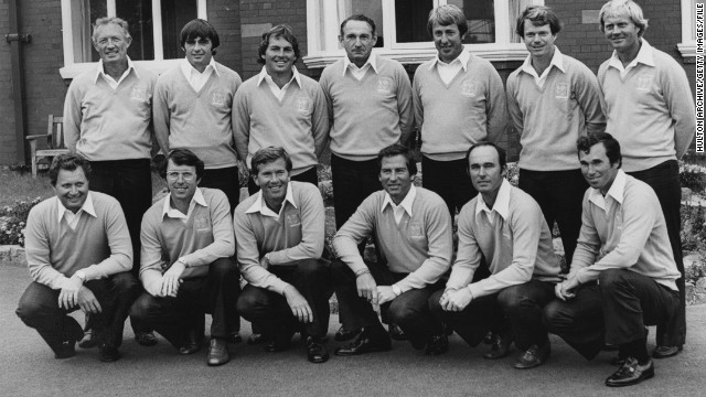 Watson (back row, 2nd from right) made his first Ryder Cup appearance in 1977, the last time it pitted the U.S. against Great Britain and Ireland -- European golfers were included from 1979. Watson says seeing the flag go up at the opening ceremony was a defining moment in his life. The U.S. won 12½ - 7½.