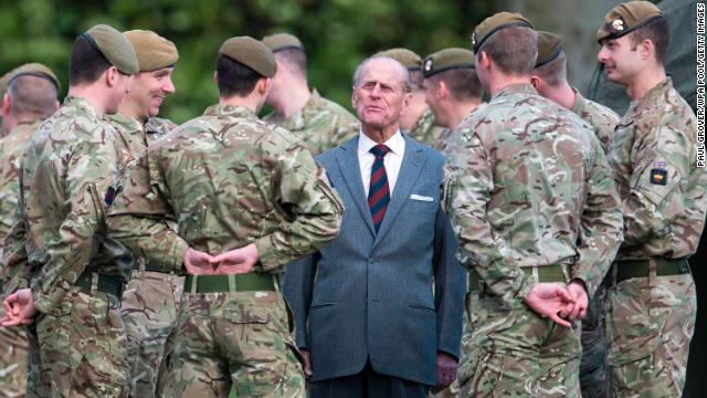 February 24, 2014: Prince Philip, colonel of the Grenadier Guards, visits the 1st Battalion of the Grenadier Guards in Aldershot, England.