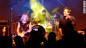 Jimi Jamison, right, performs with Survivor on August 30, 2014, in Morgan Hill, California.