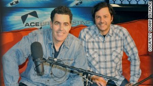Old friends Adam Carolla, left, and Donny Misraje worked on what became the most downloaded podcast ever.
