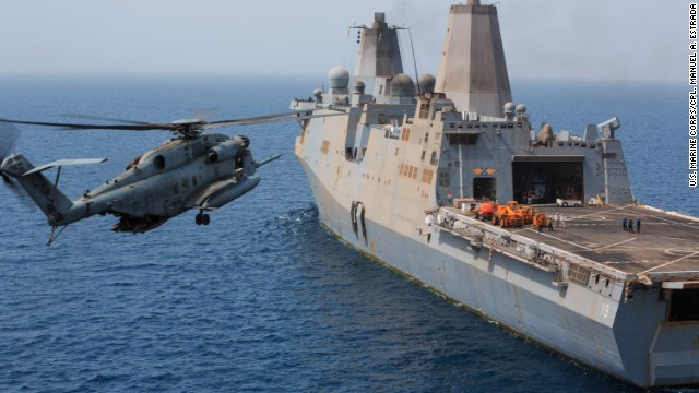 A U.S. Marine Corps CH-53E helicopter prepares to land on the amphibious transport dock ship USS Mesa Verde last month.