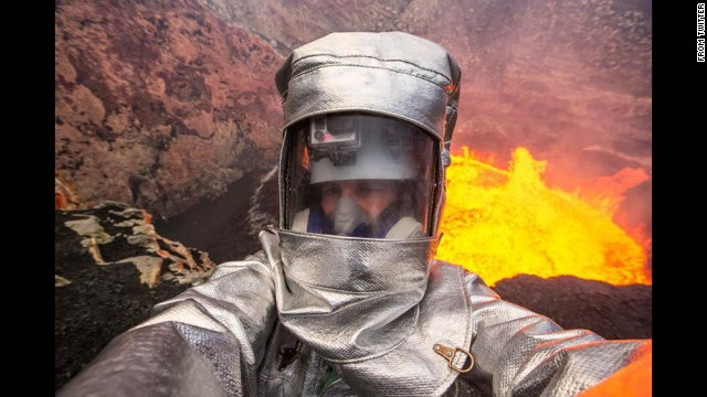 """Television personality George Kourounis takes a selfie at Ambrym, a volcanic island in Vanuatu, on Wednesday, August 27. """"Volcano #selfie. When normal selfies are not extreme enough!"""" <a href='https://twitter.com/georgekourounis/status/504782538624094208/photo/1' target='_blank'>he tweeted.</a>"""