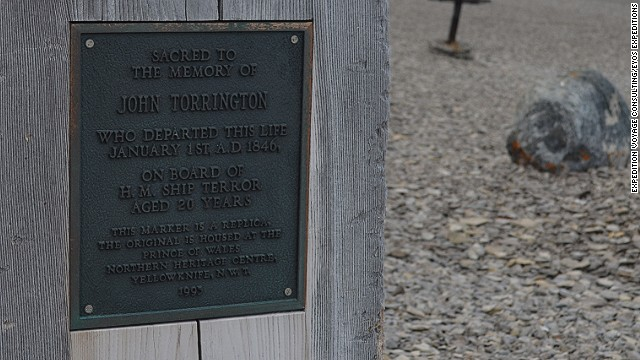 Reminders of early, ill-fated expeditions to traverse the Northwest Passage can still be found on the islands of the high Arctic. This replica sign commemorates a man who perished during Englishman John Franklin's 1845 expedition.
