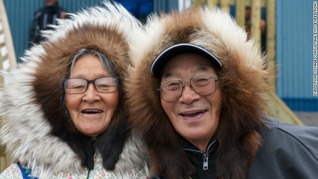 These Ulukhaktok residents, near Inuvik in Canada's Northwest Territories, pose for a photographer from EYOS Expeditions -- a company set up to help superyachts and cruise lines travel to remote regions.