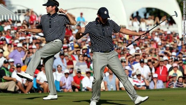 """Simpson joined forces with Bubba Watson, winning two of their three contests by a handsome 5&4 margin. But he succumbed to Ian Poulter in the singles. """"I'll never forget the feeling that I had watching the other team celebrate,"""" Simpson said of 2012."""
