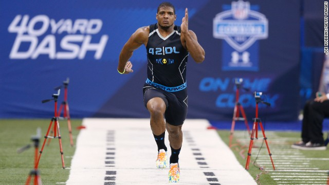 Sam runs the 40-yard dash February 2 during the NFL Scouting Combine in Indianapolis.