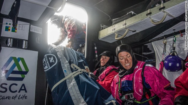 "This year, all-female Team SCA will also be battling it out on the high seas -- the first time in a decade that a women-only crew has taken part. The team will have three more sailors than other boats -- bringing their total to 11. ""Even with our extra three people, physically it is really hard,"" said British crew member Sam Davies. ""The guys are stronger than us and so we need all the horsepower we can get."""
