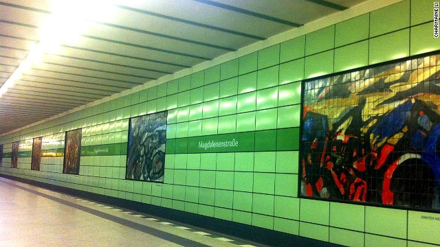 Commissioned and installed by the East German government in 1986, the works at Magdalenenstrasse U-Bahn station were painted before the fall of the wall and depict German history from the 1800s to the 1980s.