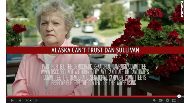 The spot by the Democratic Senatorial Campaign Committee hits Dan Sullivan for opposing Obamacare.