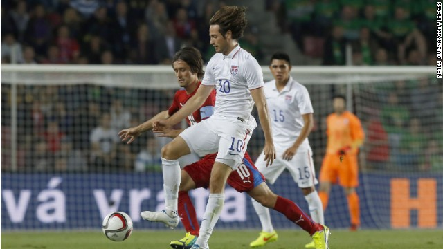 Team USA star Mix Diskerud goes up against Tomas Rosicky of the Czech Republic during the friendly clash in Prague.