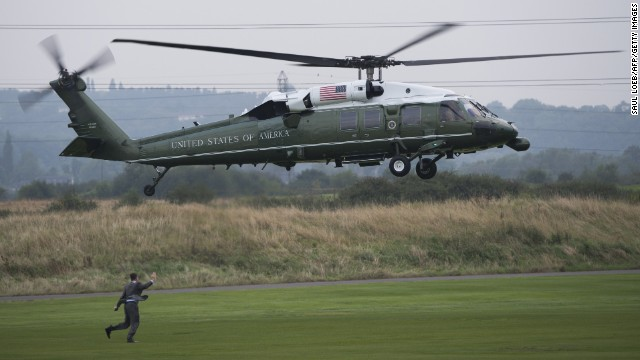 Marine One, carrying Obama, lands in Newport on Wednesday, September 3.
