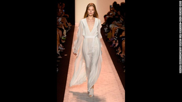 There was fluidity in many of the BCBGMAXAZRIA pieces, including this white silk V-neck dress.