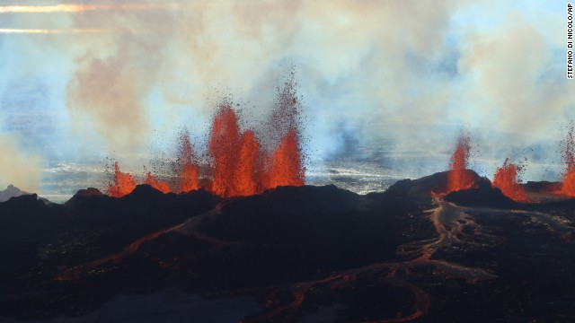 Fountains of lava spurt from a fissure in the ground on the north side of the Bardarbunga volcano in Iceland on September 2.