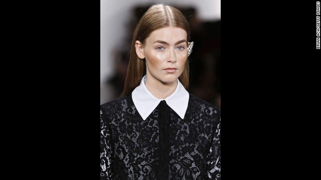 Designer Katharine Polk, for her line Houghton, adorned a crisp button-down with black lace overlay.
