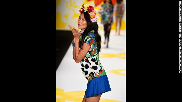 Models for Desigual smiled and danced down the runway in vibrant floral patterns of hibiscus, roses, dahlias and the like.