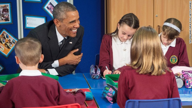 SEPTEMBER 4 - NEWPORT, WALES: U.S. President Barack Obama meets school children at Mount Pleasant Primary School prior to the NATO summit. The meeting of leaders and senior ministers from 28 nations has been billed as the <a href='http://cnn.com/2014/09/03/world/europe/nato-summit-wales/index.html'>most important NATO gathering in more than a decade.</a>