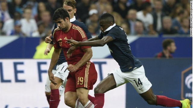 Diego Costa failed to hit the target as Spain suffered a 1-0 defeat against France in Paris.