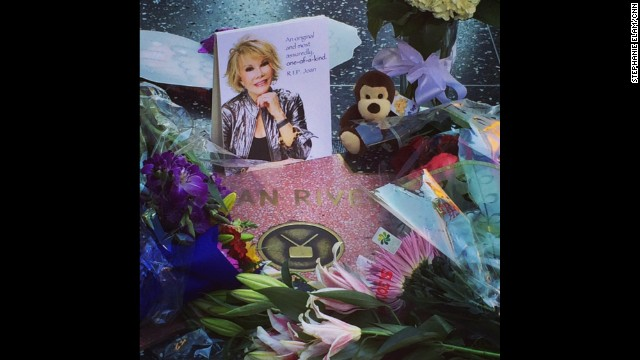 "HOLLYWOOD, CA: ""The impromptu memorial continues to grow for Joan Rivers at her star on the Walk of Fame."" - CNN's Stephanie Elam, September 4. Follow Stephanie (<a href='http://instagram.com/stephelamtv' target='_blank'>@stephelamtv</a>) and other CNNers along on Instagram at <a href='http://instagram.com/cnn' target='_blank'>instagram.com/cnn</a>."