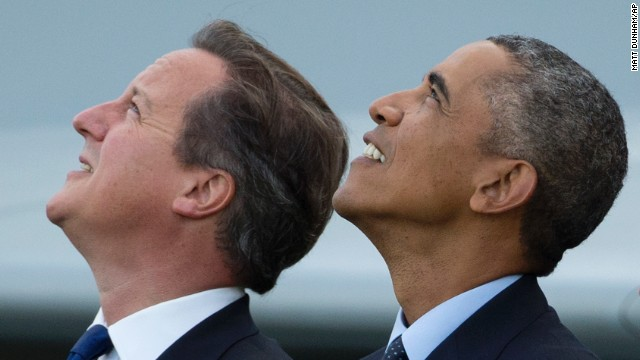 Obama and British Prime Minister David Cameron watch the flyover on September 5.