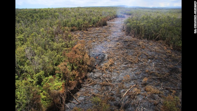 Fluid lava streams on Monday, September 1, from a flow that began erupting in June from the Kilauea volcano in Pahoa, Hawaii.