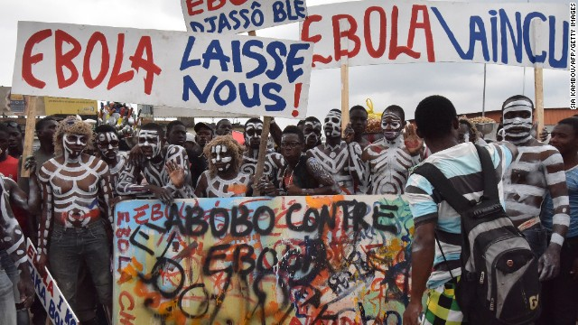 A rally against the Ebola virus is held in Abidjan, Ivory Coast, on September 4.