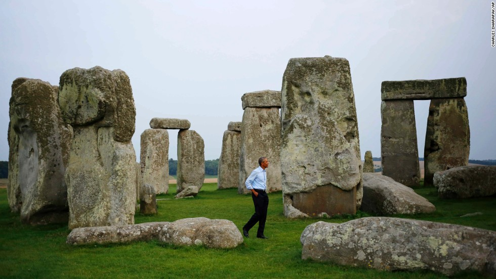 U.S. President Barack Obama visits Stonehenge after leaving the NATO summit in Newport, Wales, on Friday, September 5.