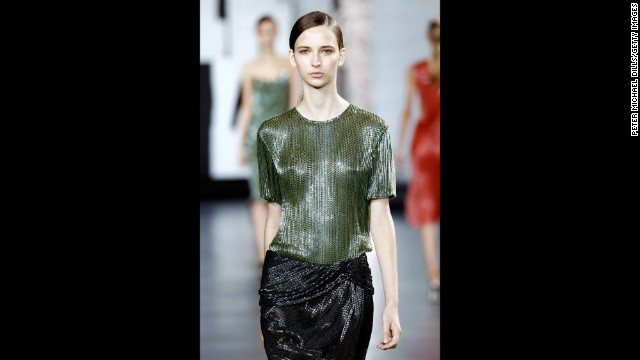 Jason Wu played with shimmery tones of olive and navy for spring.