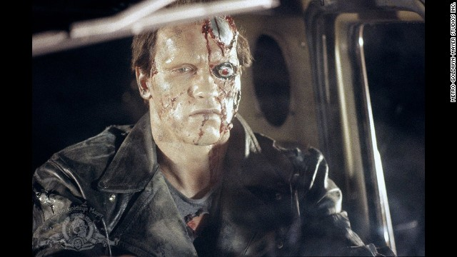 "Arnold Schwarzenegger plays a cyborg assassin in ""The Terminator."" The movie centers around an artificial intelligence defense network called Skynet that seeks to destroy mankind."
