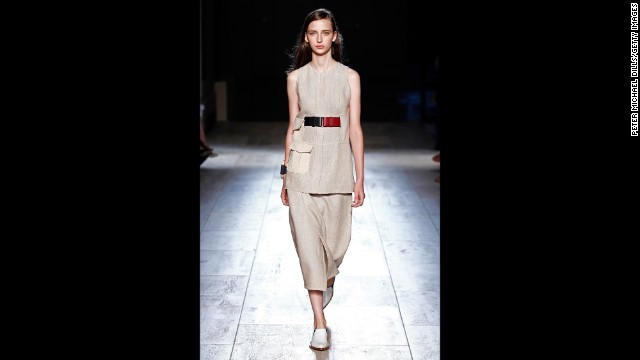 Victoria Beckham's collection stuck to a muted palette with occasional accents of maroon.
