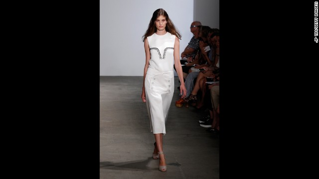 Derek Lam detailed a crisp, high-waisted skirt with a double row of buttons.