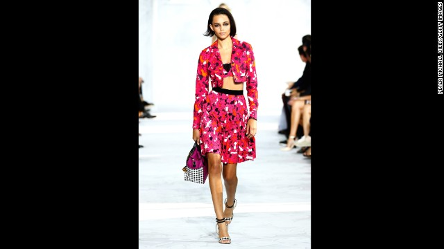 Diane von Furstenberg played with bright floral prints.