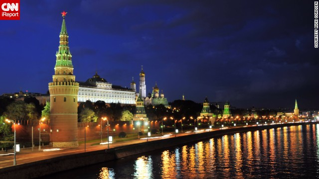 "The Kremlin glows against the evening sky in the heart of Moscow. ""I completely fell in love with the amazing architecture and the warm and friendly people I met,"" said <a href='http://ireport.cnn.com/docs/DOC-1115991'>Rick Cordsen</a>, who visited Russia in 2011."