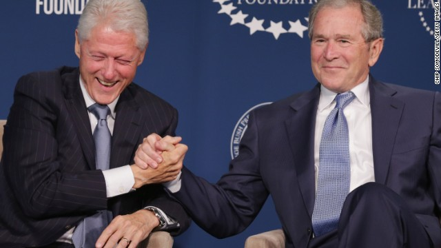 Bill Clinton and George W. Bush yuk it up