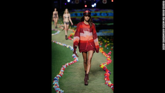 Tommy Hilfiger's spring collection, which debuted on September 8, was inspired by the rock icons of the 1960s and 1970s.