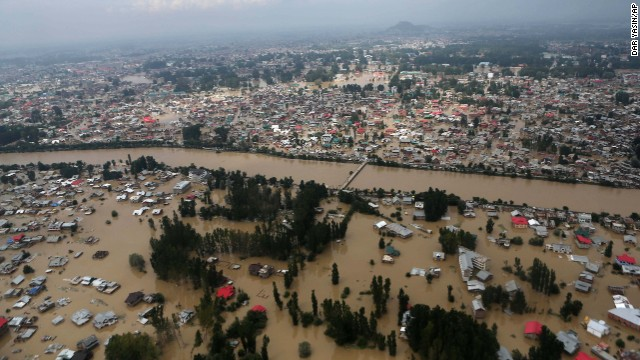 Buildings in Srinagar are submerged in floodwaters on September 9.