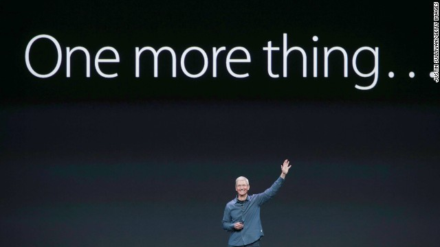 Apple CEO Tim Cook sets up an announcement with the famous saying popularized by his predecessor, Steve Jobs.
