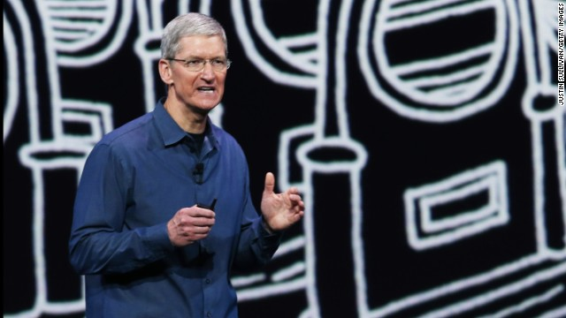 Cook speaks during the special event. Apple also unveiled a new mobile payments platform called ApplePay, which works with the new iPhones and the Apple Watch.