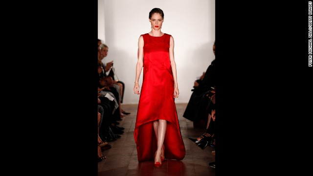 Model Coco Rocha popped off the runway in red at Zac Posen.