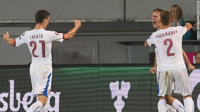 Borek Dockal, right, scored for the Czech Republic in its 2-1 win over the Netherlands in a Euro qualifier.