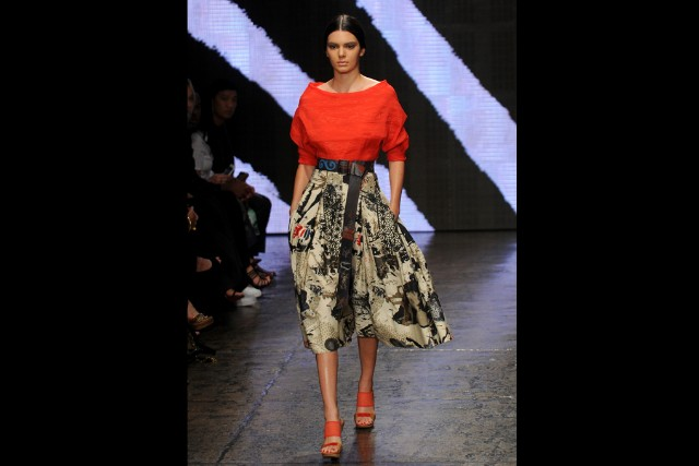Kendall Jenner models for Donna Karan at New York Fashion Week.