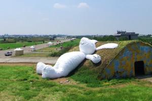 El conejo gigante en un búnker de Taiwán