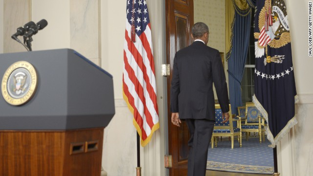 Obama turns away from the lectern after delivering his address to the nation.