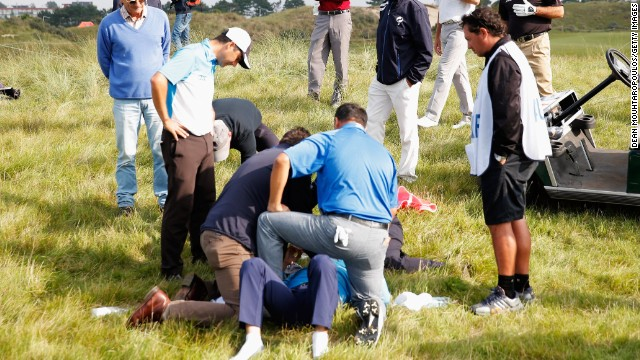 Play had to be stopped at the KLM Open in the Netherlands after golfer Fabrizio Zanotti was hit on the head by a ball.