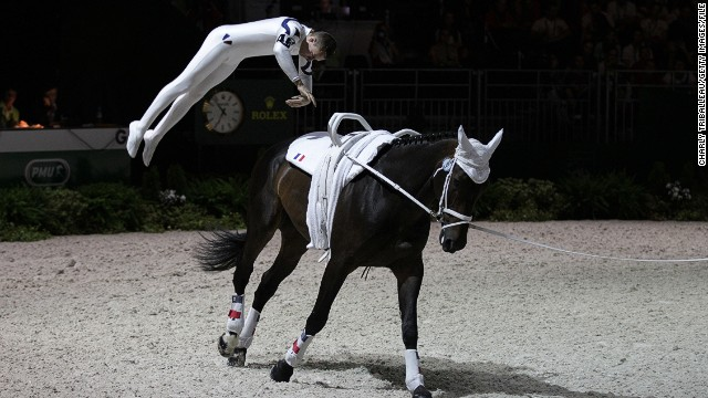 French rider Vincent Haennel shows off some breathtaking moves during the vaulting, which is essentially gymnastics on the back of a horse, a sport where athletes clad head-to-toe in spandex perform handstands, leaps, and cartwheels on top of an animal cantering in a 20-metre circle.