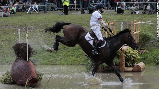 British rider Harry Meade dives in the deep end during the cross-country category.