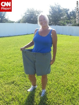 Corn had tried Weight Watchers in 2008 after attempting multiple other diets. She stuck with the program for less than a year. When she started again in 2011, her mind-set was completely different. She made a commitment to pay attention and listen closely in meetings and adhere to the plan. The shorts she's wearing here in July 2013 are the same ones she wore in the March 2011 photo on the aquarium visit.