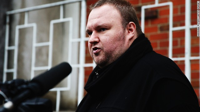 Kim Dotcom talks to media after casting his advance vote in the 2014 general NZ election in Auckland on September 3.