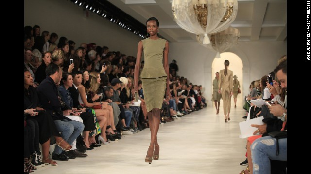 Ralph Lauren's spring collection focused on a palette of olive and tan safari tones with pops of yellow, orange, purple and pink to glam things up.