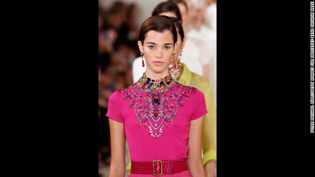 Ralph Lauren embroidered colored jewels onto the top of this vibrant, evening look with a tulle skirt.